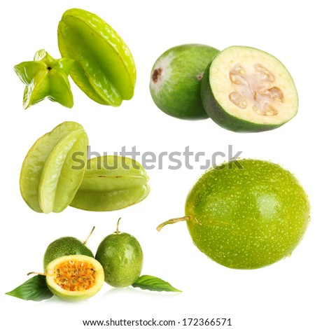 Green exotic fruits, isolated on white - stock photo