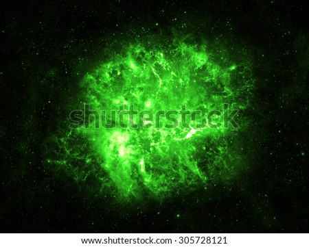 Green Explosion in Deep Space - Elements of this Image Furnished by NASA - stock photo