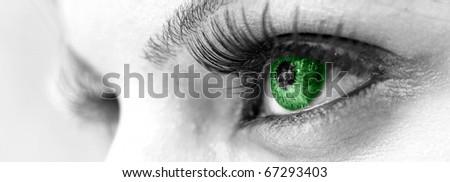 Green Eye - Beautiful, Feminine - stock photo