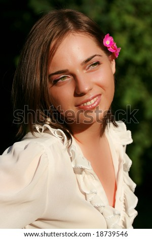 Green eye girl smiling - stock photo