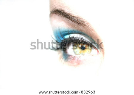 Green Eye Looking Forward - stock photo