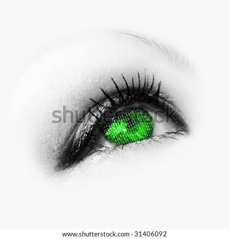 green eye with binary code - stock photo