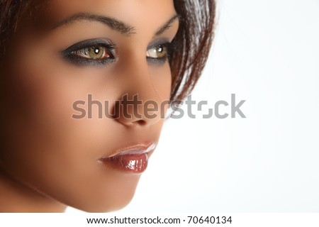 Green eyed beauty of mixed race - stock photo