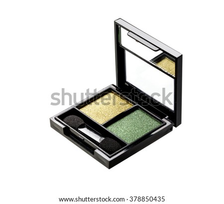 Green Eyeshadows set with brush isolated on white background