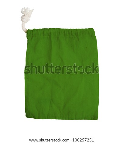 green fabric bag on white isolated background.