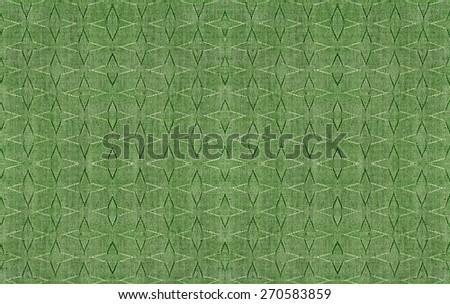 green fabric texture background, Seamless geometric pattern - stock photo