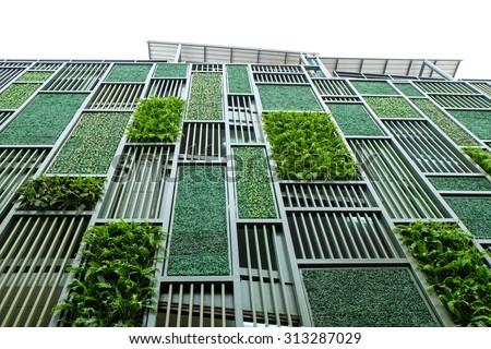Green facade, vertical garden in architecture. Ecological building. Green architecture - stock photo