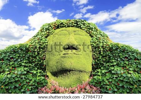 Green Face - stock photo