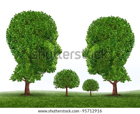 Green Family symbol with trees in the shape of a mother father son and daughter as icons of raising children with a healthy living lifestyle in a clean safe natural environment.
