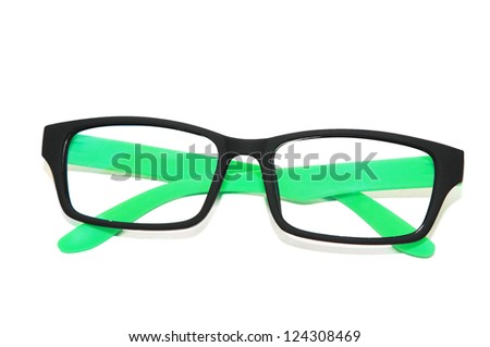 green fashion glasses in white background - stock photo