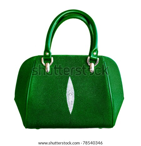 green fashion leather bag for women made from genuine stingray skin