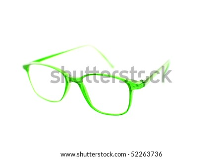 green fashion reading glasses isolated on white
