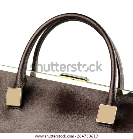 Green female handbag isolated on white. - stock photo