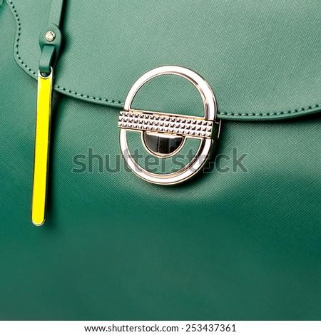 Green female leather handbag isolated on white background.  - stock photo