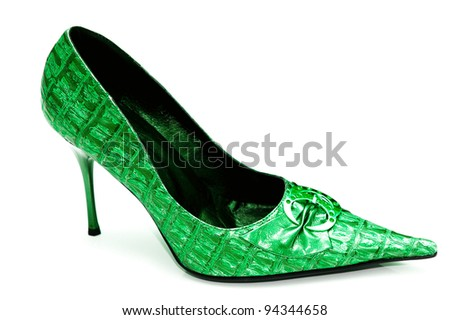 Green Female shoes on white background
