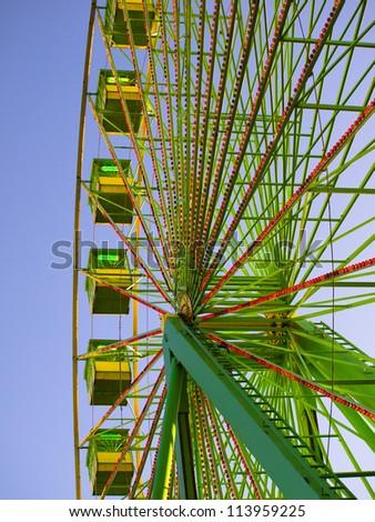 Green ferris wheel in Santiago de Compostela - stock photo
