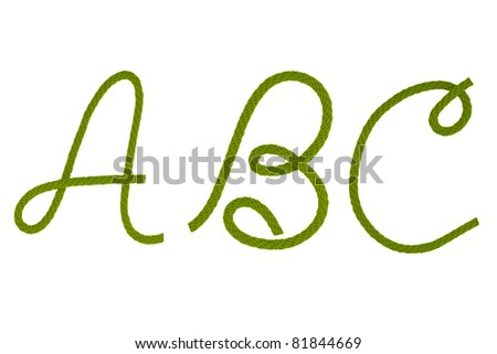 Green fiber rope bent in the form of letter A,B,C - stock photo