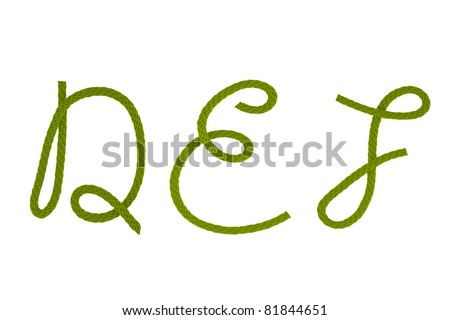 Green fiber rope bent in the form of letter D,E,F - stock photo