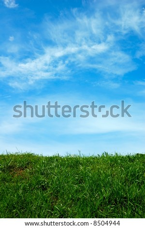 Green field and a blue sky with clouds