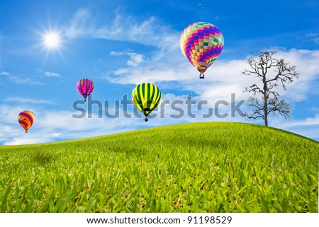 green field and balloon on blue sky background