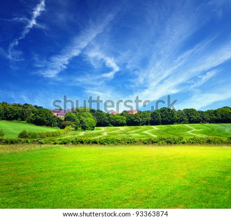 Green field and cloudy sky - stock photo