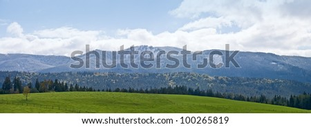 Green field and mountain landscape in Bavarian Alps, Germany - stock photo