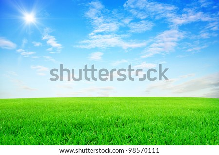 Green field and sky blue with white cloud background