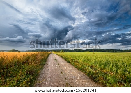 Green field and the road against stormy sky