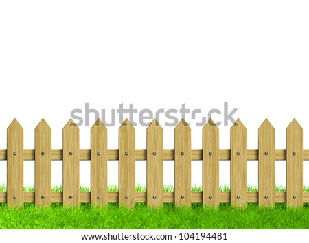 Green field and wooden fence. Render. - stock photo