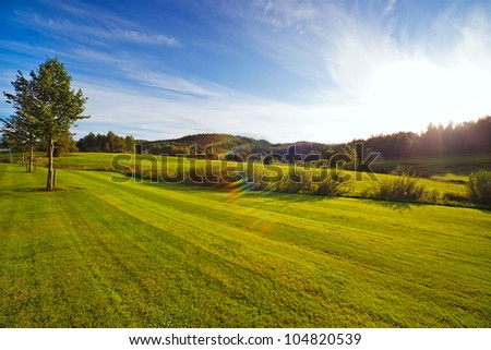 Green field at sunset. Wide angle view. - stock photo