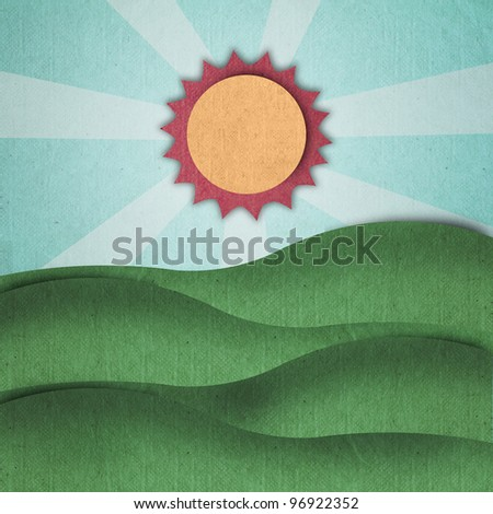 green field in summer made by recycle paper - stock photo