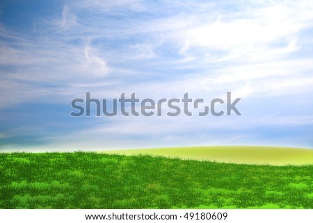 green field landscape illustration with a nice sky