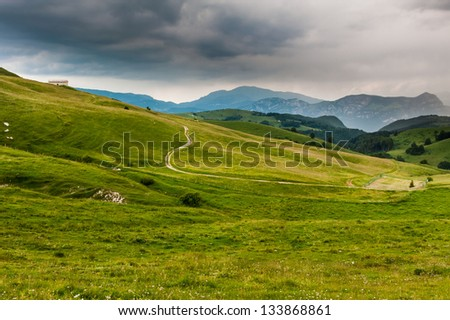 Green field landscape with road - stock photo