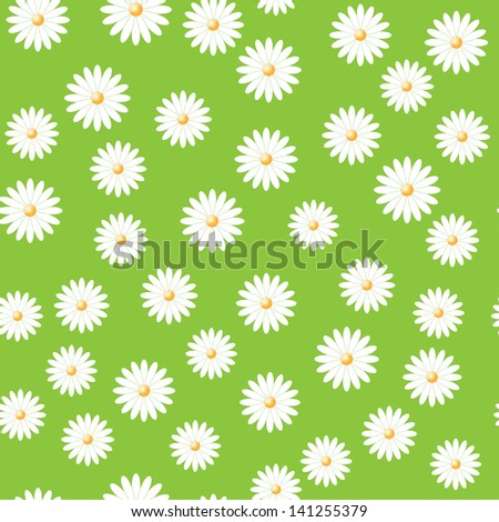 green field of daisies. seamless pattern.(vector version also available in my gallery)
