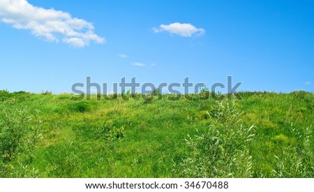 Green field on a background of the blue cloudy sky