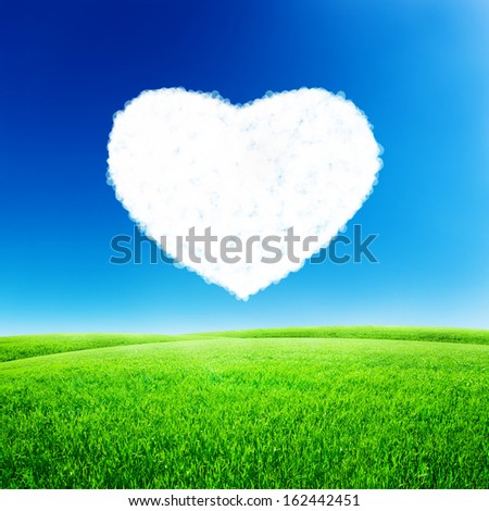 Green field under blue sky with heart shape on it. Love concept