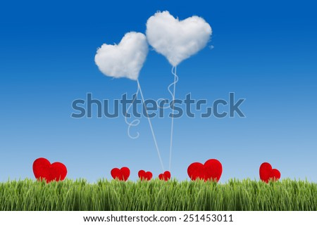 Green field under blue sky with heart shape on it. Love concept - stock photo