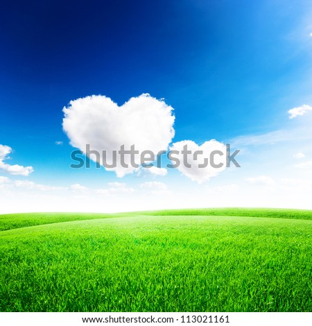 Green field under blue sky with two heart shape on it. Love concept - stock photo