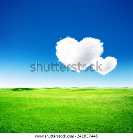 Green field under blue sky with two heart shape on it. Love concept