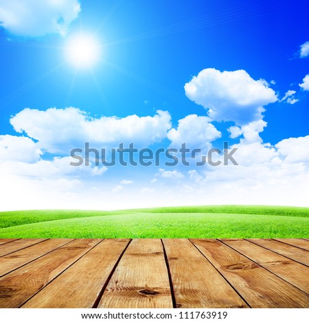 Green field under blue sky. Wood floor. Beauty nature background - stock photo
