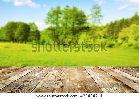 Green field under blue sky. Wood planks floor. Beauty nature background - stock photo