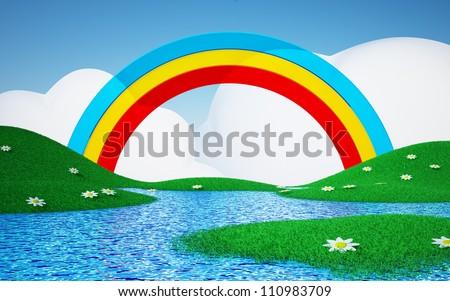 Green field with daisies and rainbows with clouds. 3d cartoon landscape - stock photo