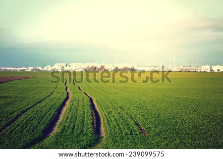Green field with fresh grass and agglomeration in the distance. Vintage instagram stylized picture. - stock photo