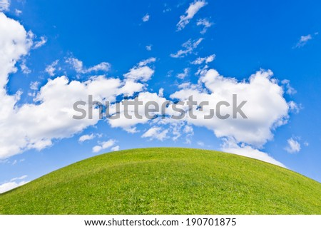 green field with white cloudscape - stock photo