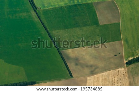 Green fields aerial view - stock photo