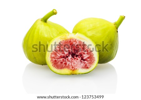 Green figs isolated on white background - stock photo