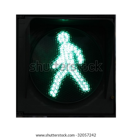 green figure on traffic light - stock photo