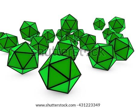 green figures - 3D illustration - stock photo