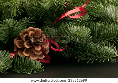 green fir-tree twigs with cones and a red ribbon on a dark background - stock photo