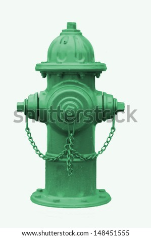Green fire hydrant isolated on white.